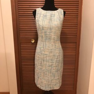 Talbots blue white tan tweed sheath dress 8